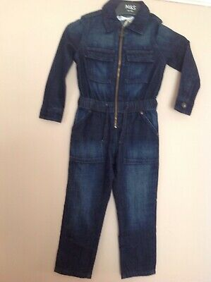 Bnwt Marks And Spencer Girls Denim Zip Front, Boiler Suit, Age 4-5 Years