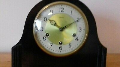 OVERHAULED  SMITHS MANTLE CLOCK iN RARE COLOUR EBONY (THE HOWARD) 8 DAY CLOCK