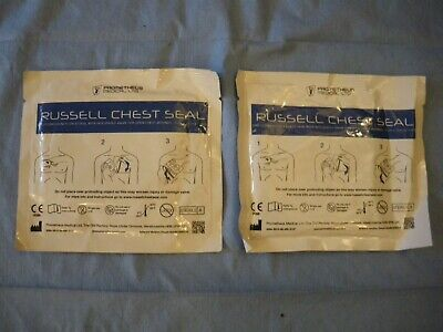 2 Russell Emergency Chest seal with integrated valve. RSC Trauma Wounds Medic