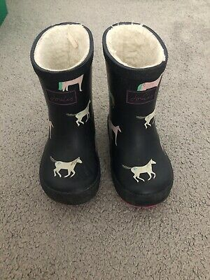 Joules Toddler Girls Navy Blue Horse Design Wellies With Fleece Inside Size 6