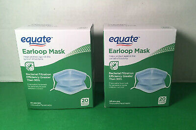 40 Medical Earloop Face Mask Disposable Equate - 2 Packs Of 20