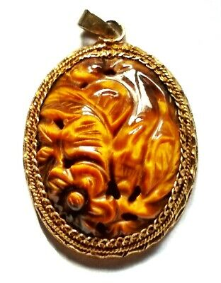 Stunning Chinese Silver & Tiger's Eye Pendant Superbly Carved Lovely Example