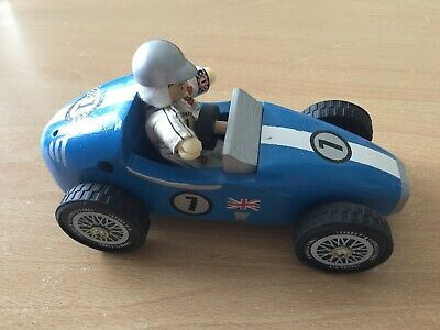 Le Toy Van Budkins Wooden Retro F1 Racer Blue Racing Car with Driver