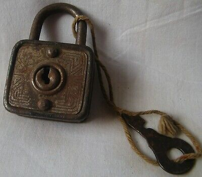 Vintage old rusted iron door lock cabinet small tiny padlock working condition