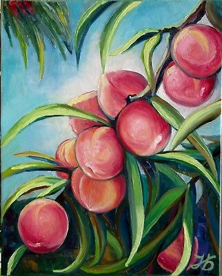 """Peaches 20X16"""" Hand Painted Original Oil Painting Garden Fruits by Nadia Bykova"""