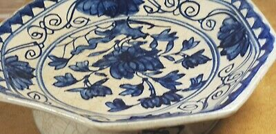 arita  ?  , chinese ? antique blue white footed bowl marked
