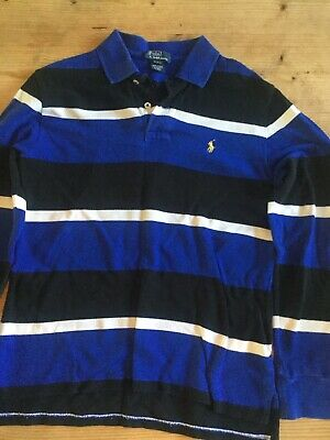 Boys Polo By Ralph Lauren Black And Blue Rugby Shirt Age 10-12