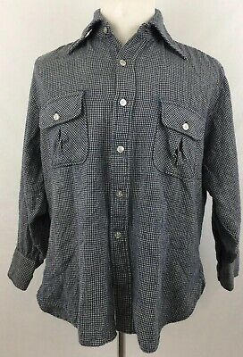 Vtg 1960's Sir Pendleton Mens Houndstooth Board Shirt Virgin Wool Sz XL USA