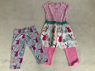 Next girls cotton bunny print dress with 2 pairs of coordinating cropped legging