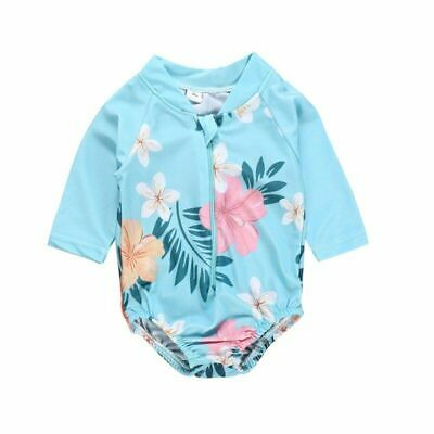 Kids Baby Girls Floral Printed One Piece Swimwear Long Sleeve Swimsuit Beachwear