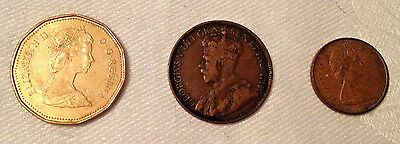 Lot of 3 Canada Coins - $1 (1988), cent (1917), penny (1975)