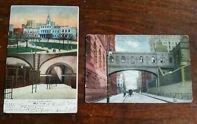 2 Vtg Downtown NYC Postcards Bridge of Sighs to Tombs & City Hall Station 1906/7