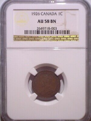 1926 NGC AU58BN Canada Small One cent - Clean Holder - Penny 1C - 2.14M mintage