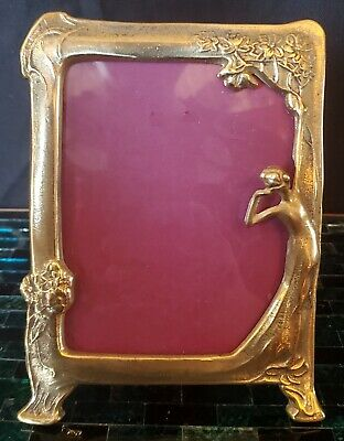 Vintage Art Nouveau Brass Fairy Nymph Floral Picture Photo Frame Deco Lady