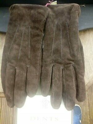 Dents Ladies Suede Leather Mocha Gloves. Unused With Tags.