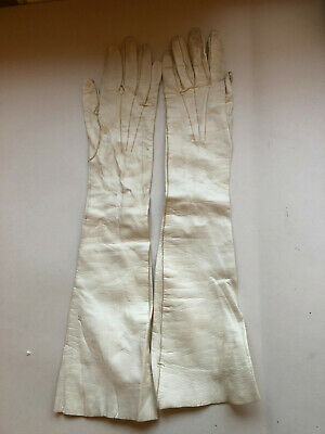 Elegant vintage long white leather evening gloves with buttons French size small