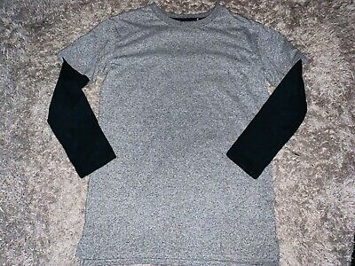 boys clothes river island grey/black long sleeved top age 7-8 years
