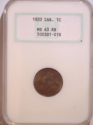 1920 NGC MS63RB Canada Small One cent - Old Holder - Penny - 1C - Plenty RED!