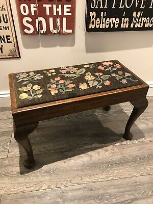 vintage,1930's,long,double,tapestry,needlepoint,stool,footstool,cabriole legs