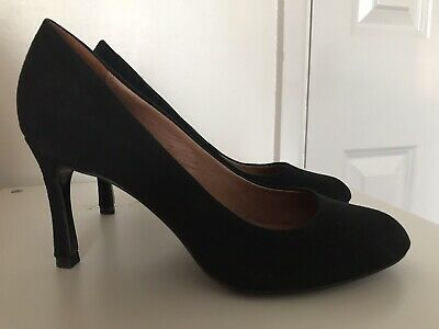 Next Forever Comfort Black Leather Suede Court Shoes Size 6