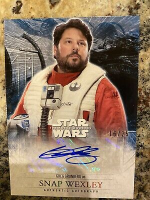 2016 Topps StarWars /25 Auto Wexley The Force Awakens Series 2 Sp Grunberg