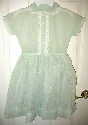 VINTAGE girls DRESS in soft mint-green sheer DOTTED SWISS/lace trim. Ages 10-12