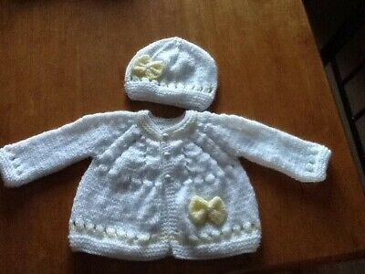 Hand knitted cardigan and hat in white and lemon (newborn)