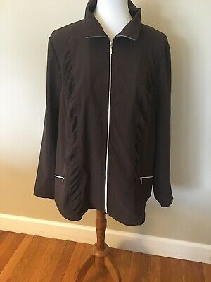 NWT Zenergy By Chico's Neema Ruched Front Brown Jacket Size 3 (XL)