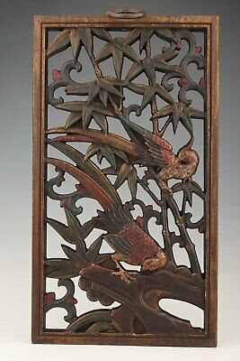 China Old Wood Hand-Carved Bird Sculpture Wall Ornament Pendant
