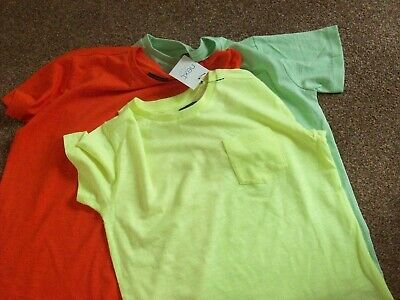Bnwt Next Boys 3 Pack T Shirts Short Sleeve Green ,Orange, Lime Age 7 Years