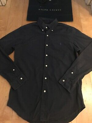 Ralph Lauren Polo Designer Men's Navy Blue Smart Shirt Medium Slim Fit Pony Logo