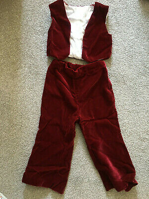 Vintage 1971 burgundy velvet page boy trousers and waistcoat