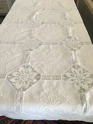 "Antique/Vintage White Embroidered Large Table Cloth, 85""by 62""-12 Napkins"