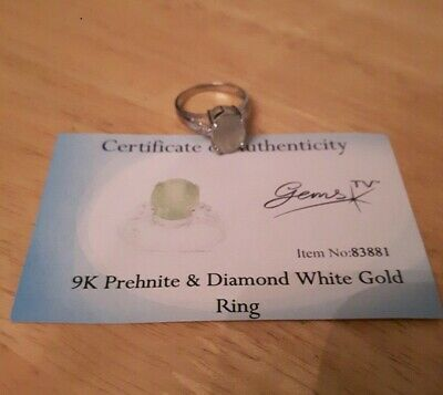 9ct 375 Prehnite And Diamond White Gold Ring - Size N