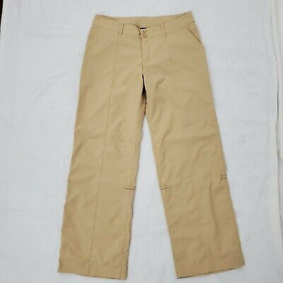 Patagonia Outdoor Hiking Pants Womens size 8 Casual Roll Up Packable Nylon Gold