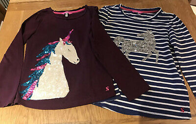 Girls Joules Unicorn T Shirt Top Bundle - Age 9-10 Years - Sequins