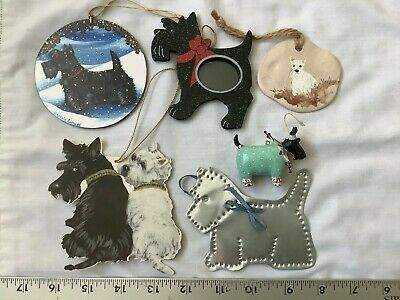 6 Scottish Terrier Scottie Scotty Dog Christmas Ornaments Hand Painted, Etc