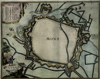 Mons Belgium Low Countries 1711 Harrewyn Foppens charming small city plan