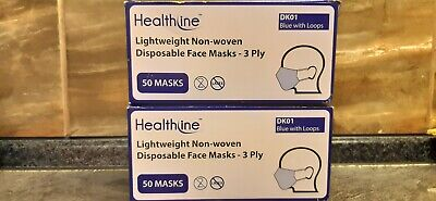100 pcs of Disposable Face Mask Surgical Medical Dental Industrial 3-Ply