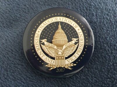 2017 Donald Trump & Mike Pence (Authentic) Inauguration Day Blue Pin Back Button