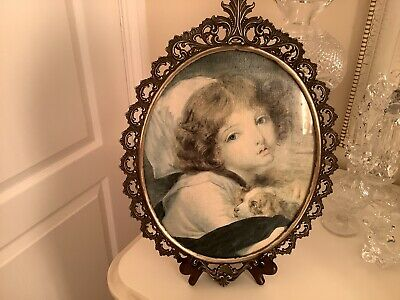 Vintage Brass Frame  French Portrait Jean-Baptiste GREUZE Girl With Spaniel