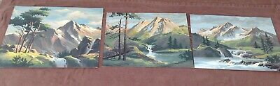 3 Vintage Paint By Numbers Paintings, Mountains & Streams