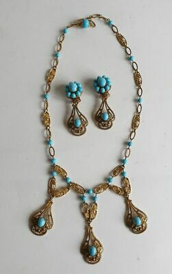 Beautiful turquoise and gilt metal Edwardian Art Nouveau necklace and earrings