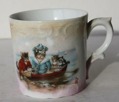 Cat-Kitten China Cup w-Fancy Handle Made in Germany Cats in a Row Boat w-Clothes