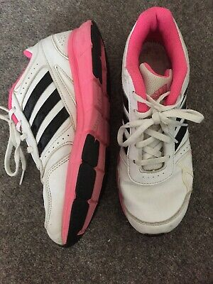 White Pink Black Adidas Trainer Lace Ups Size UK 5 HM