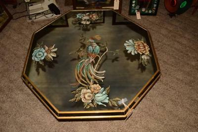 Antique 1940s Vintage REVERSE PAINTED BIRD Octagonal Glass MIRROR COFFEE TABLE