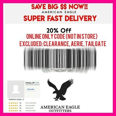American Eagle & Aerie COUPON 20% OFF Purchase - WEB CODE, SUPER FAST eDELIVERY!