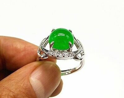 Chinese Ice Green Jadeite Jade Handwork Collectible Ring M01