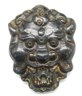 Hongshan culture Magnetic jade stone carved Person's face jade pendant b1