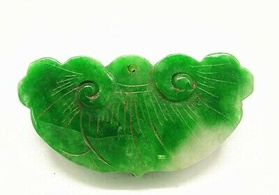 Chinese Ice Green Jadeite Jade Handwork Collectible Amulet Pendant mk1